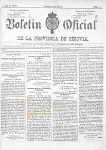 boletín oficial de la provincia de segovia enero 1904