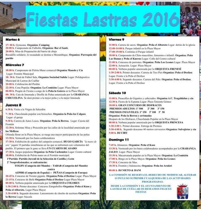 Fiestas de Lastras de Cuéllar 2016