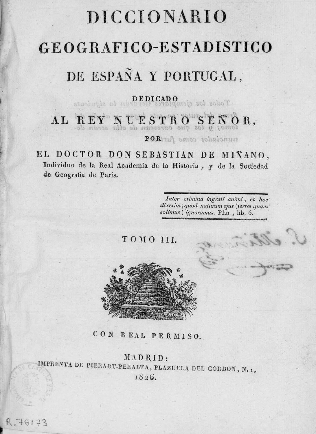 Diccionario geográfico histórico de España y Portugal. Madrid 1826