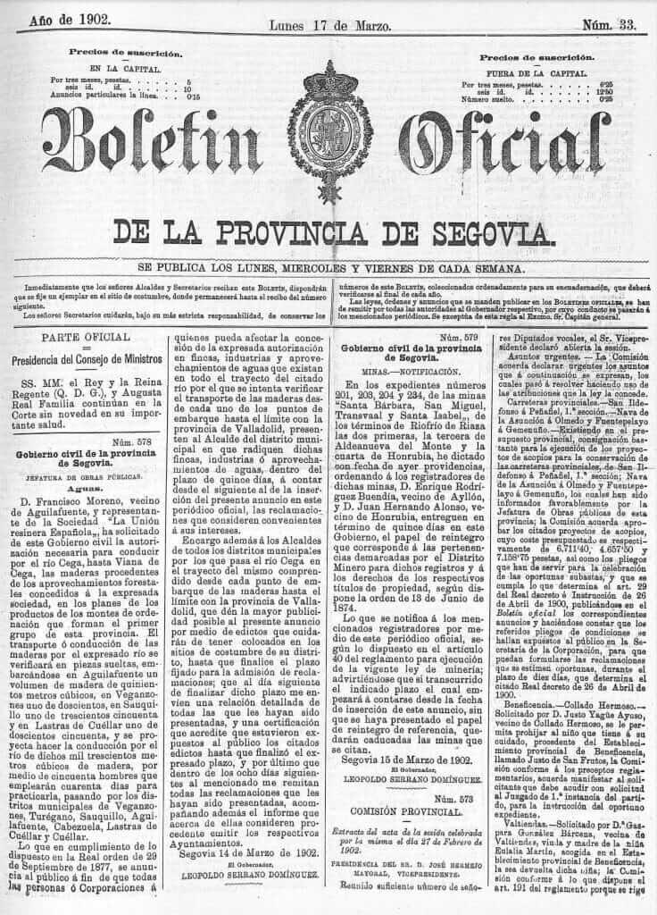 boletín oficial de la provincia de segovia marzo 1902